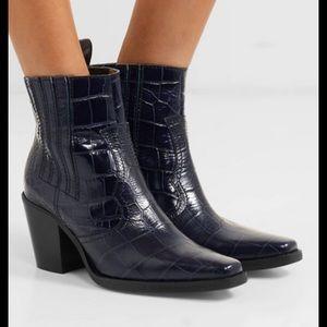 Ganni Callie croc-effect leather blue boots 41